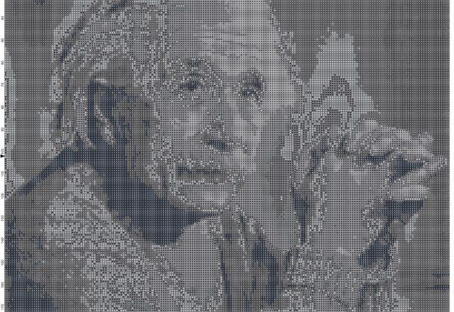 albert_einstein_cross_stitch_pattern_black_and_white_pattern