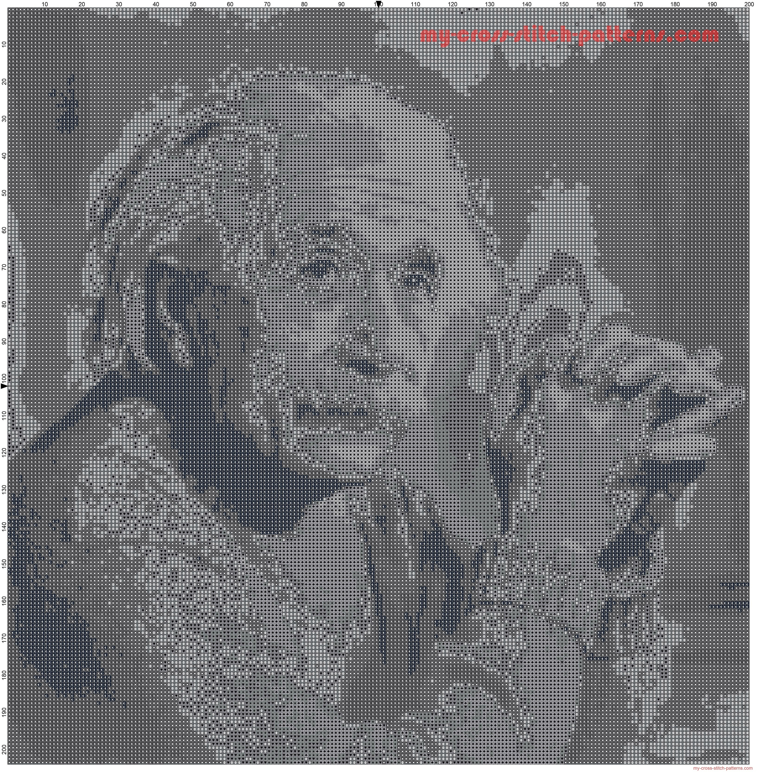 albert_einstein_cross_stitch_pattern_black_and_white_pattern