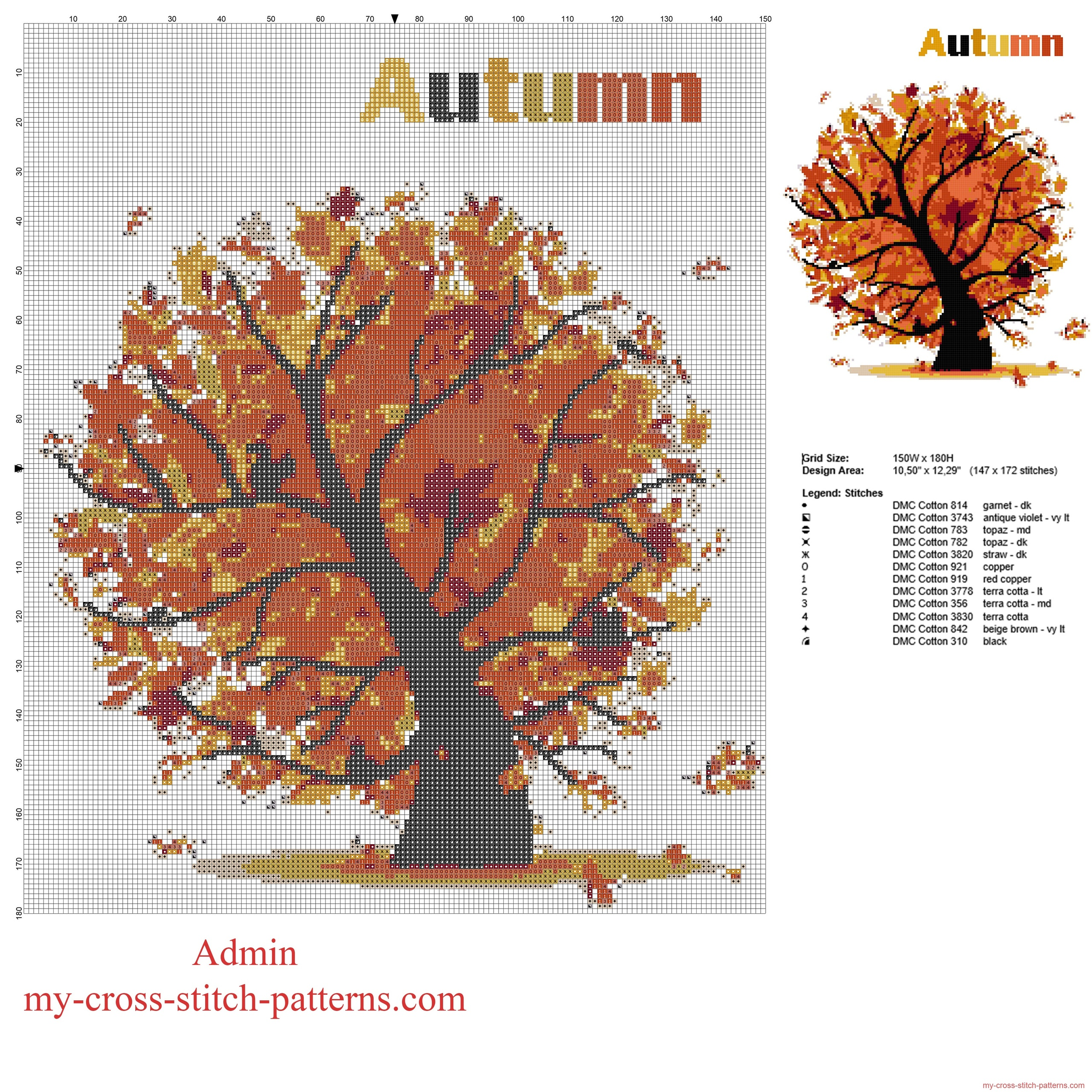 autumn_tree_with_falling_leaves_free_cross_stitch_pattern_download