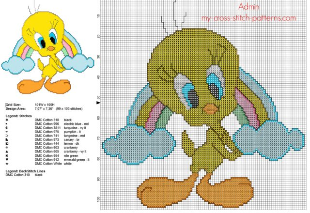 baby_tweety_bird_with_a_rainbow_free_cross_stitch_pattern_download