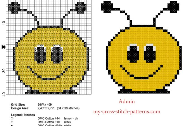 bee_face_small_and_simple_cross_stitch_pattern_in_40_stitches_baby_bibs_idea