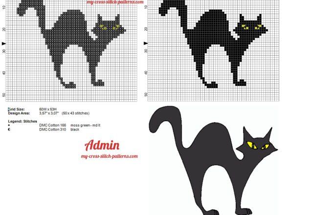 black_cat_yellow_eyes_cross_stitch_pattern