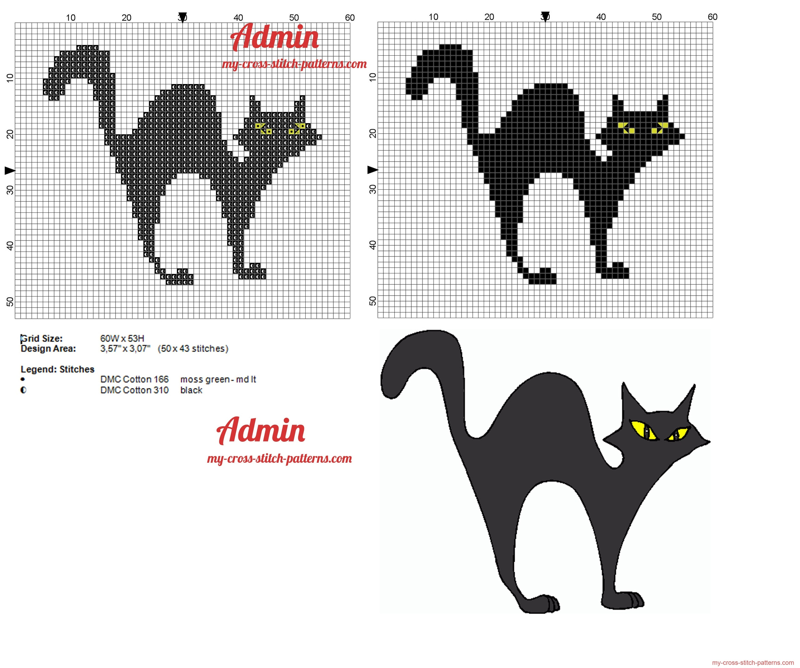 black_cat_yellow_eyes_cross_stitch_pattern