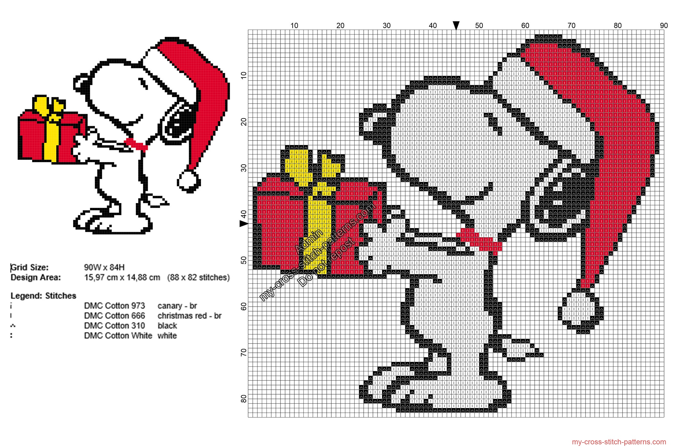 christmas_snoopy_with_a_present_free_cross_stitch_pattern_88x82