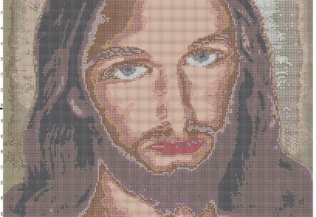 color_jesus_face_cross_stitch_pattern_full_pattern