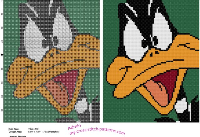 colored_cross_stitch_tile_with_daffy_duck_face