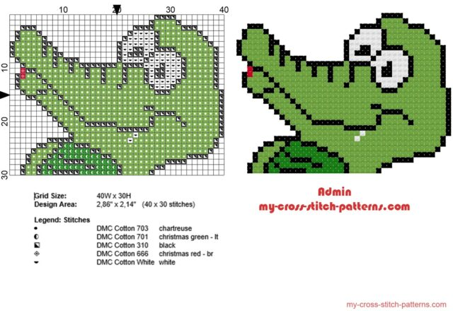 crocodile_small_face_cross_stitch_pattern_in_40_stitches