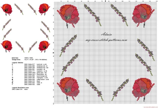 cross_stitch_border_with_papavers_flowers_width_about_30_stitches_free_download