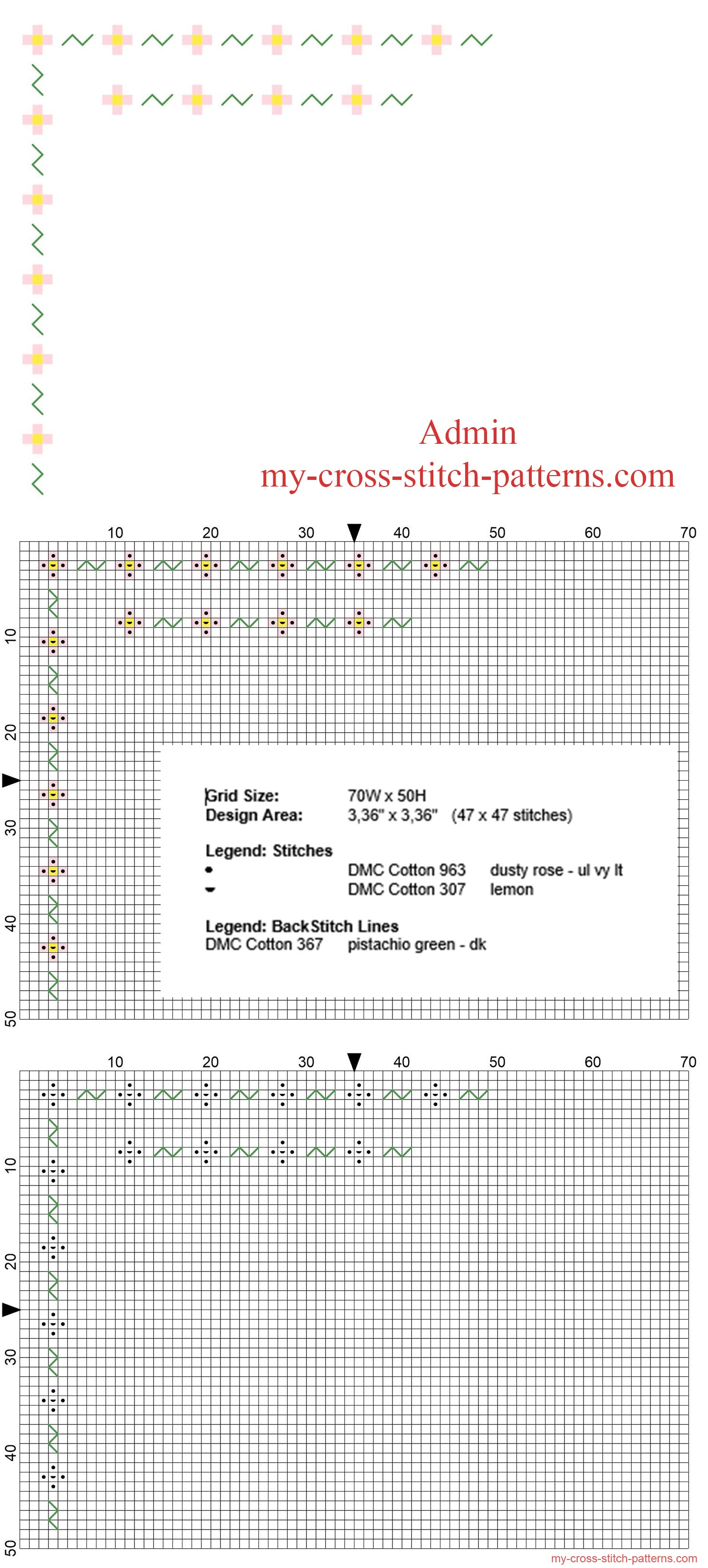 cross_stitch_floral_border_with_small_pink_flowers_free_download_width_3_stitches