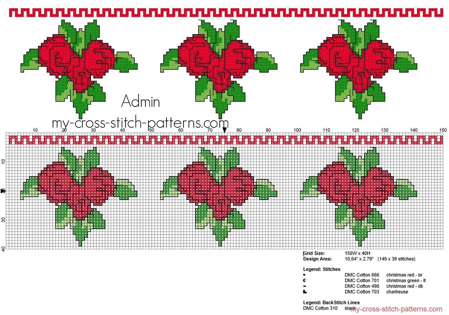 cross_stitch_pattern_border_with_red_roses_height_39_stitches_free_download