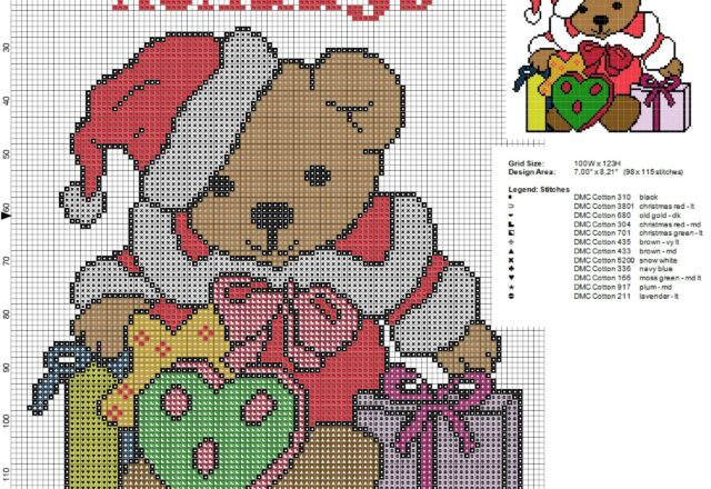 cross_stitch_pattern_christmas_teddy_bear_and_written_happy_holidays