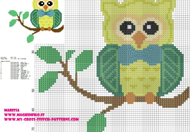 cross_stitch_pattern_owl_on_branch_with_bow_tie_