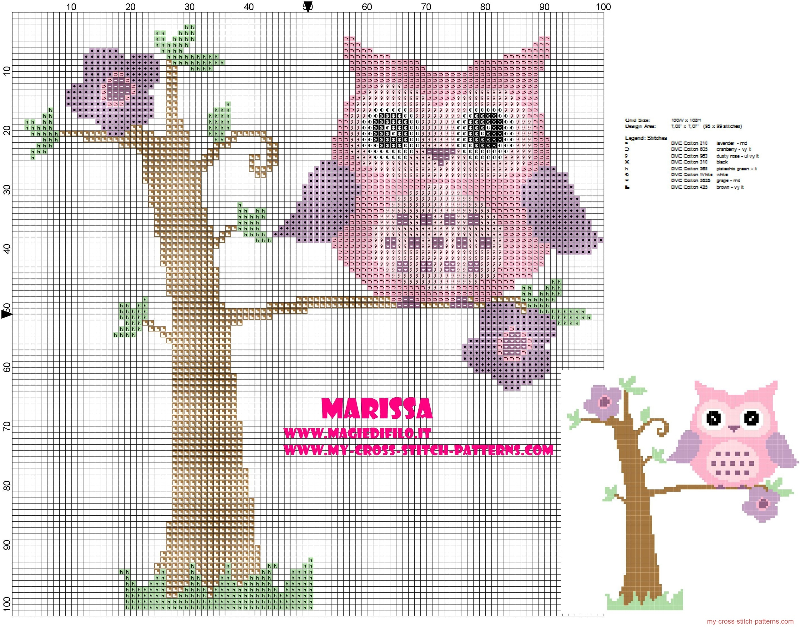 cross_stitch_pattern_pink_owl_on_tree