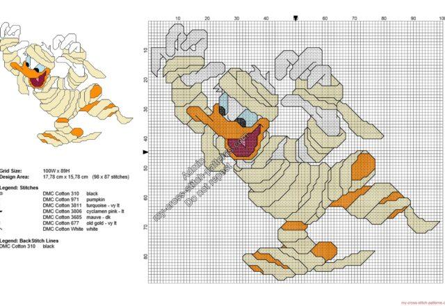 disney_donald_duck_mummy_free_halloween_cross_stitch_pattern_98x87