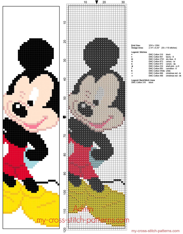 disney_mickey_mouse_children_bookmark_free_cross_stitch_pattern