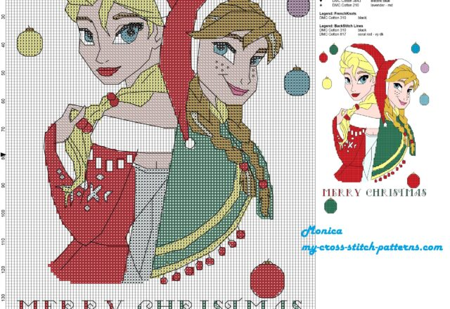 elsa_and_anna_merry_christmas_cross_stitch_pattern_