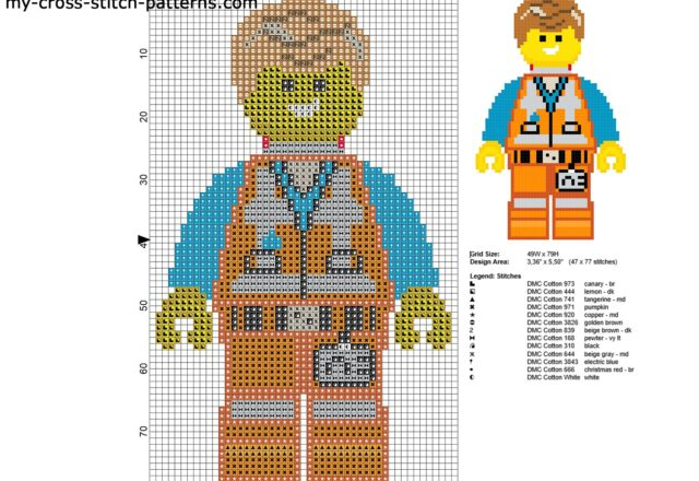 emmet_the_lego_movie_character_free_cross_stitch_pattern