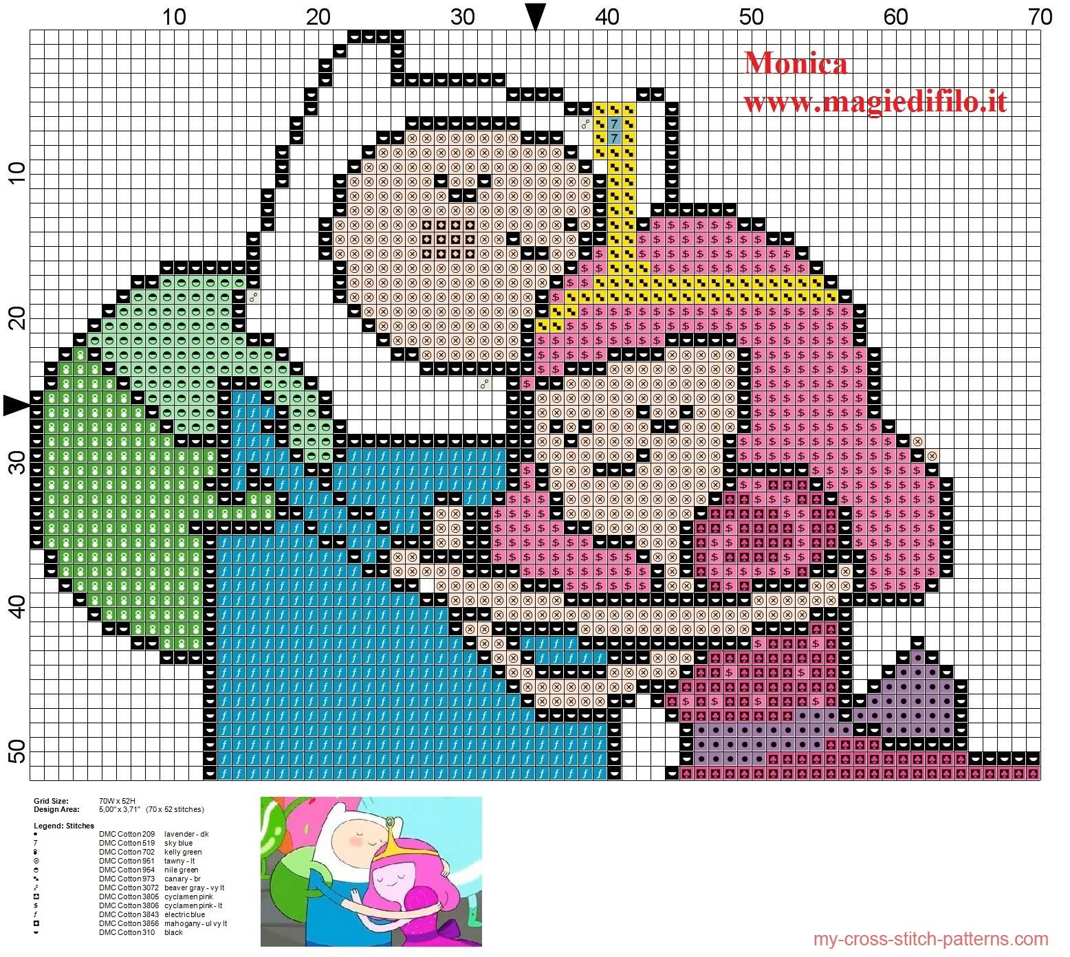 finn_with_princess_bubblegum_adventure_time_cross_stitch_pattern