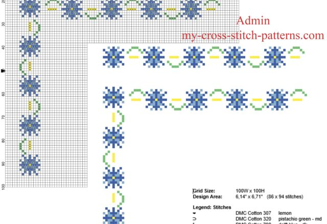 floral_border_with_blue_and_light_blue_small_flowers_free_cross_stitch_pattern_width_9_stitches