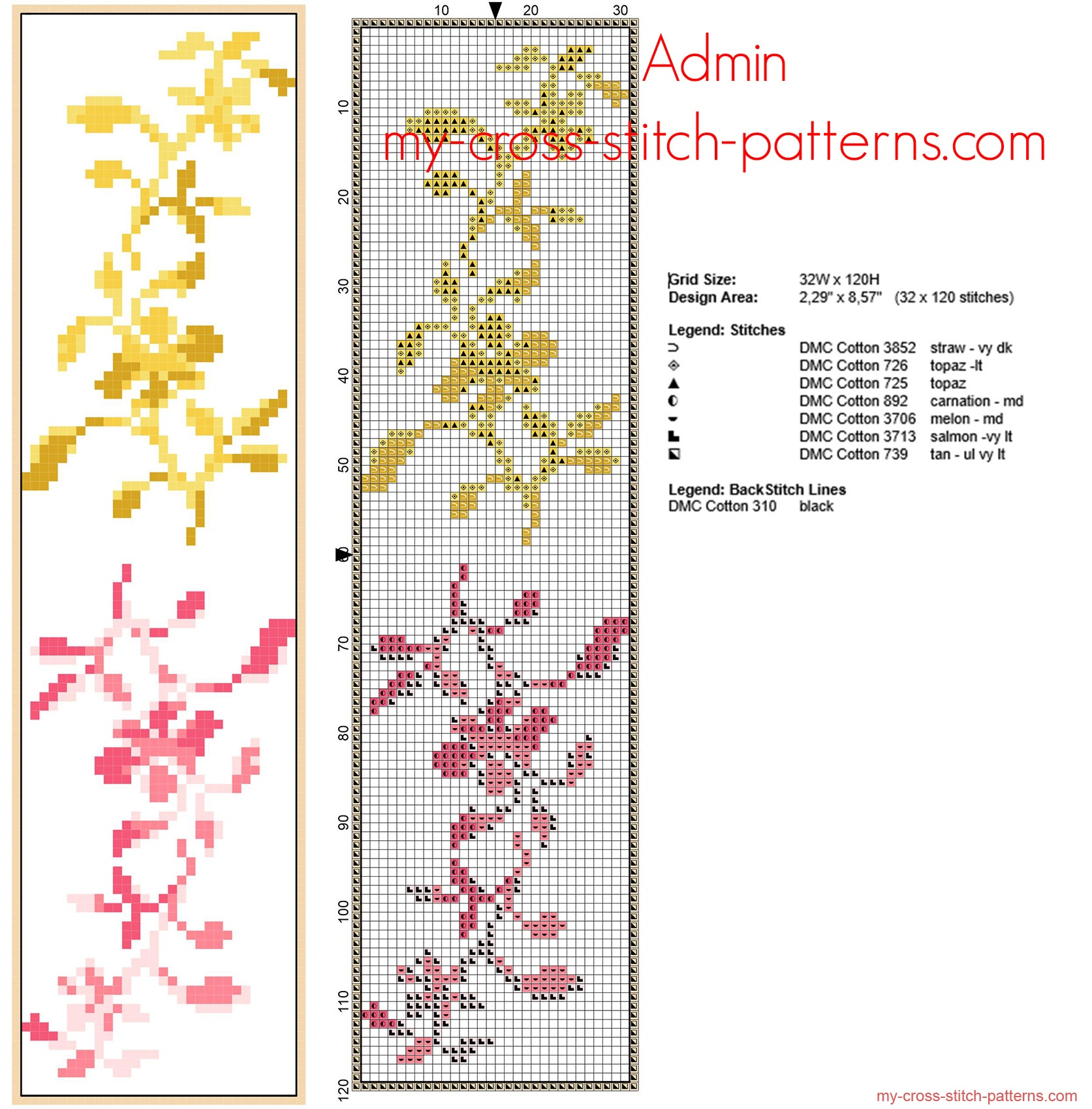 free_cross_stitch_bookmark_with_small_yellow_and_pink_flowers