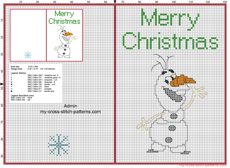 free_cross_stitch_christmas_card_with_funny_disney_olaf