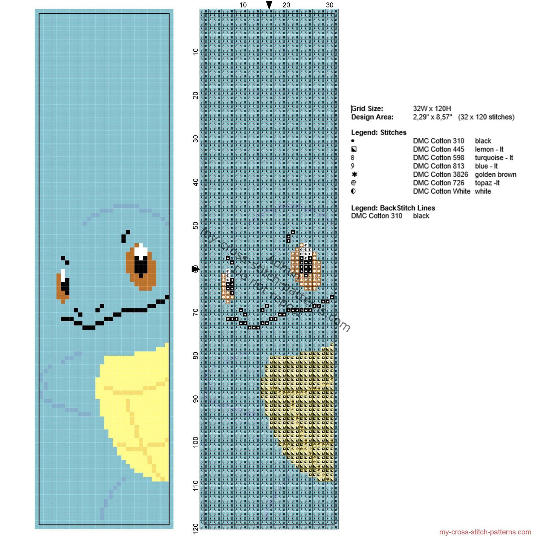 free_cross_stitch_pattern_bookmark_with_pokemon_squirtle_32_x_120