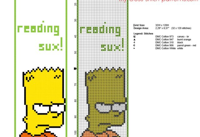 funny_cross_stitch_bookmark_with_bart_simpson_free_download_size_32_x_120_stitches
