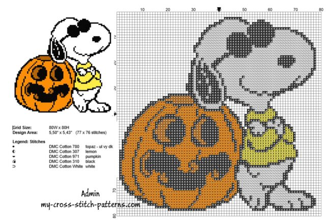 halloween_snoopy_with_a_pumpkin_free_small_cross_stitch_pattern