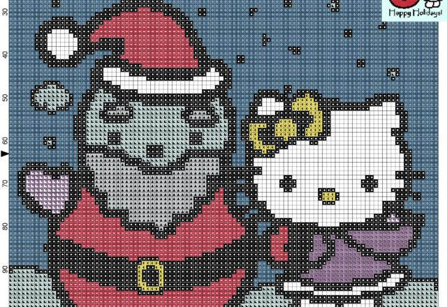 hello_kitty_with_snowman_cross_stitch_pattern