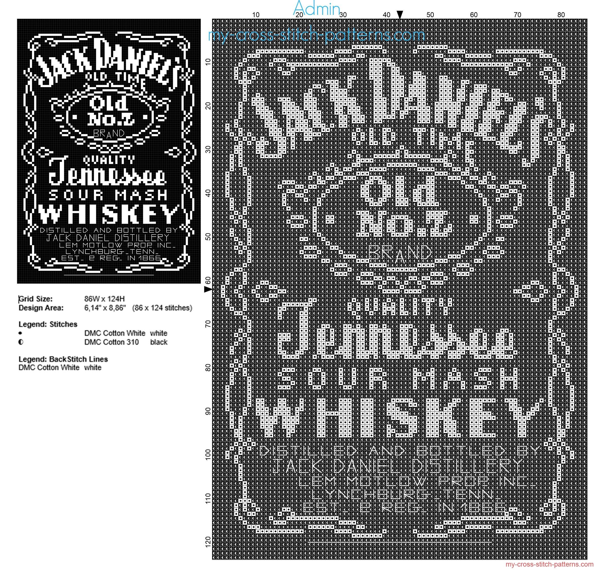 jack_daniels_whiskey_bottle_free_cross_stitch_pattern_86_x_124_stitches_2_dmc_threads