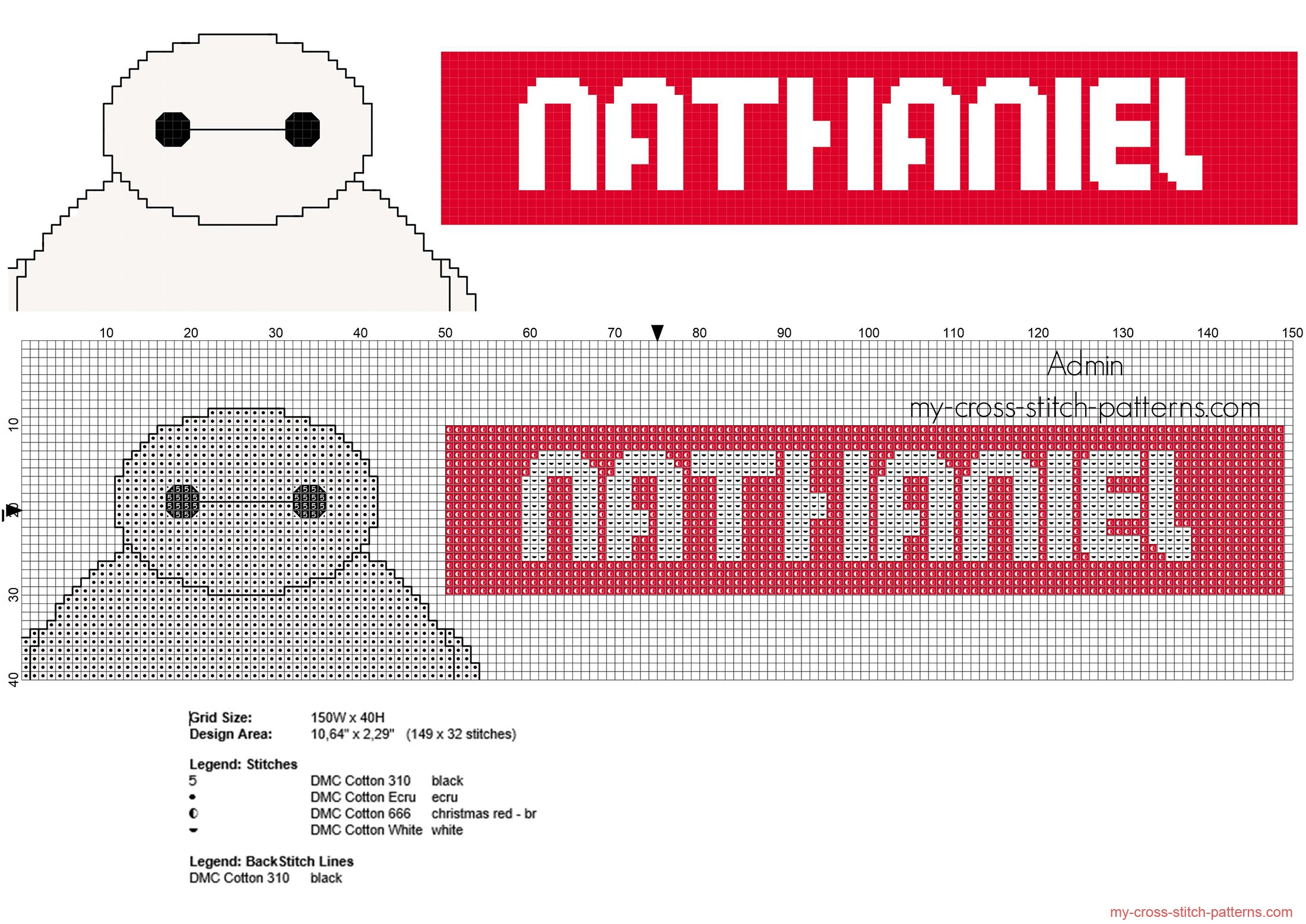 nathaniel_cross_stitch_baby_name_with_disney_baymax