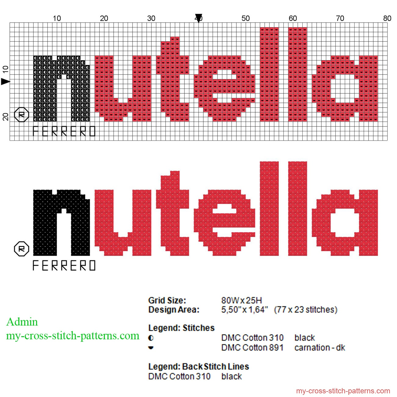 nutella_logo_cross_stitch_pattern_77_x_23_stitches_2_dmc_threads