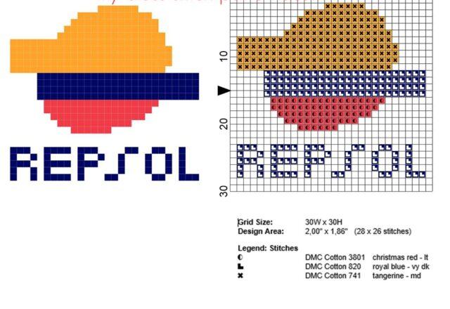 repsol_logo_free_small_cross_stitch_pattern_30_x_30