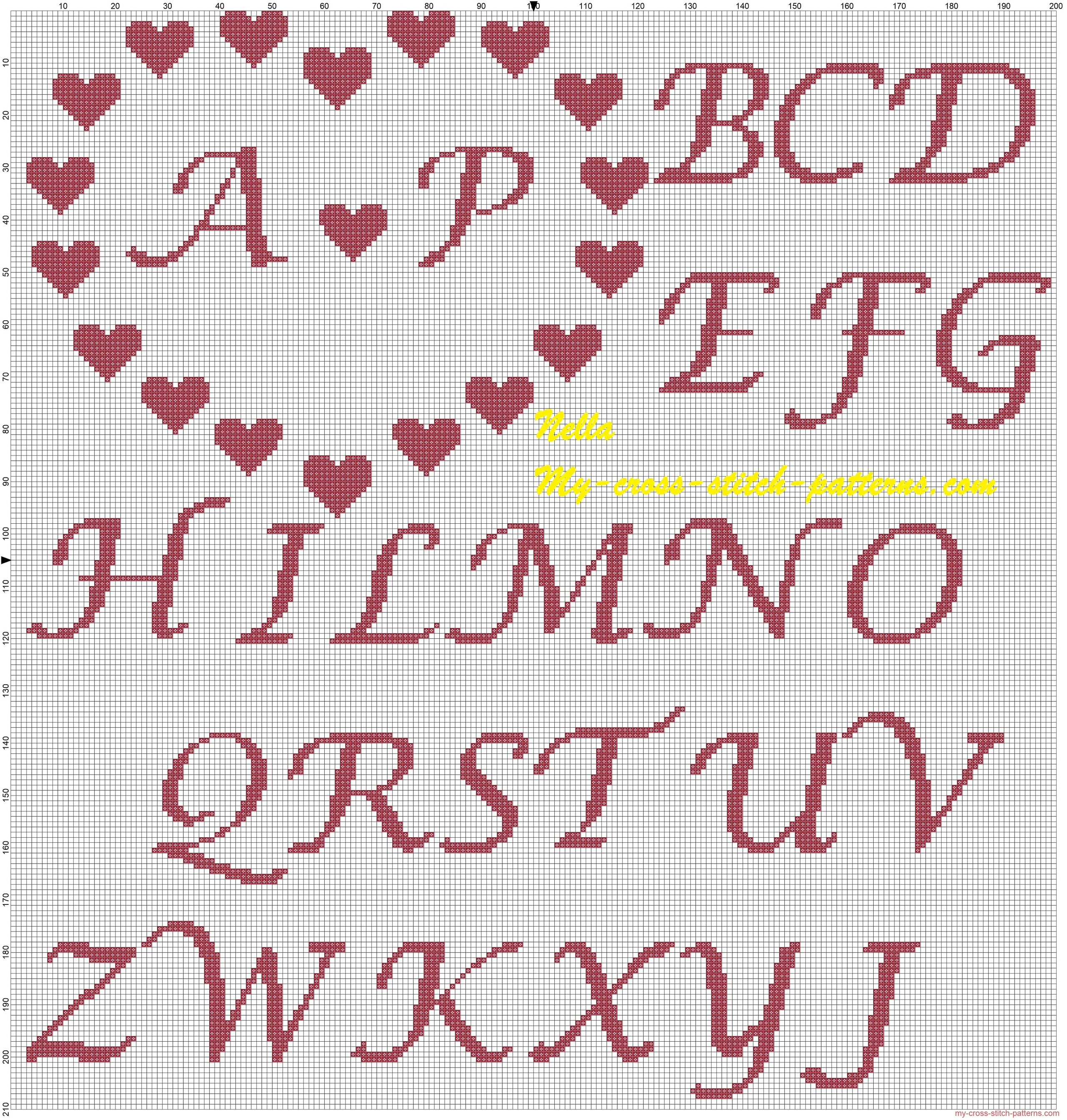 ring_pillows_initials_and_hearts_cross_stitch_pattern