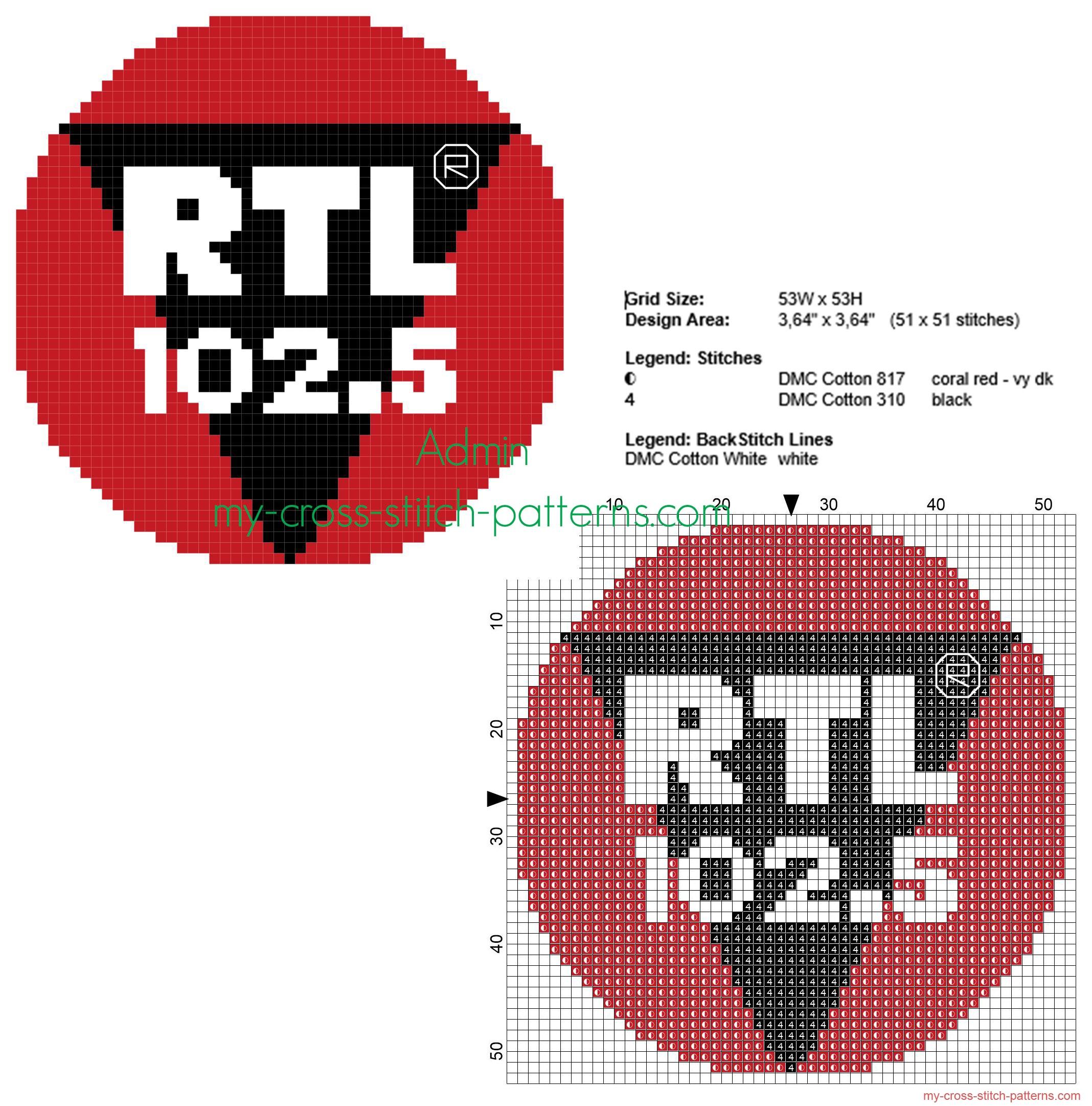 rtl_102_5_radio_logo_free_cross_stitch_pattern_small_size_50_stitches