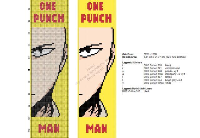 saitama_one_punch_man_free_cross_stitch_pattern_bookmark_32x120