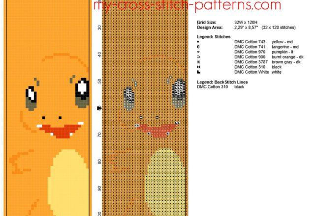 simple_bookmark_with_pokemon_charmander_free_cross_stitch_pattern