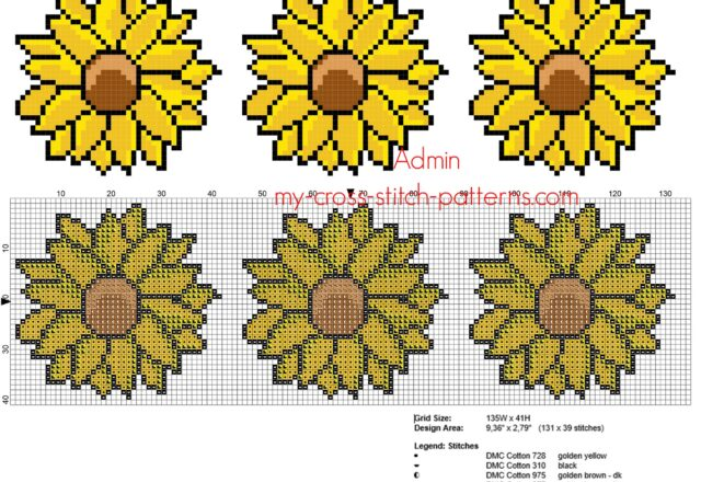 simple_cross_stitch_floral_border_with_sunflowers_height_40_stitches