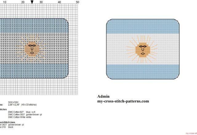 small_argentina_flag_free_cross_stitch_pattern
