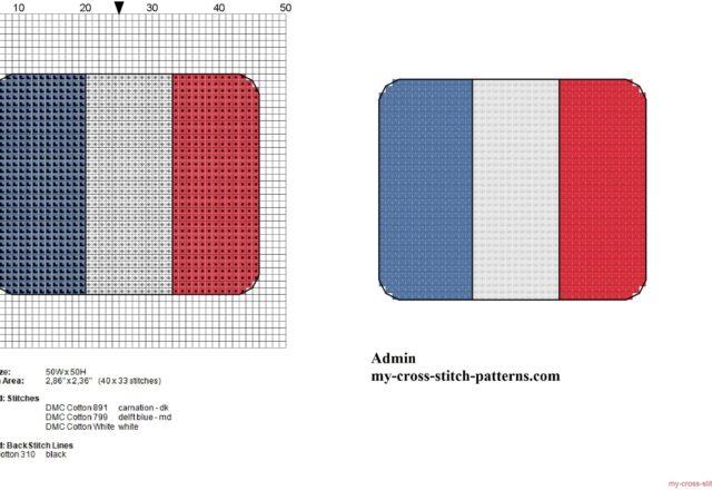 small_france_flag_free_cross_stitch_pattern