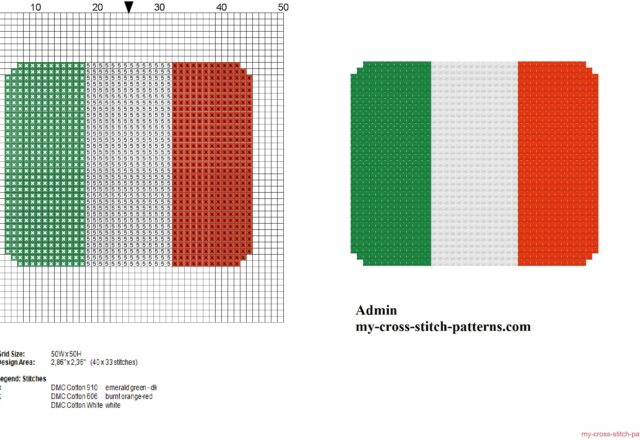 small_italy_flag_free_cross_stitch_pattern