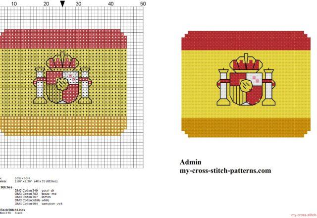 small_spain_flag_free_cross_stitch_pattern
