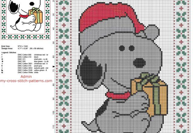 snoopy_santa_claus_free_christmas_cross_stitch_pattern_of_cartoon_peanuts