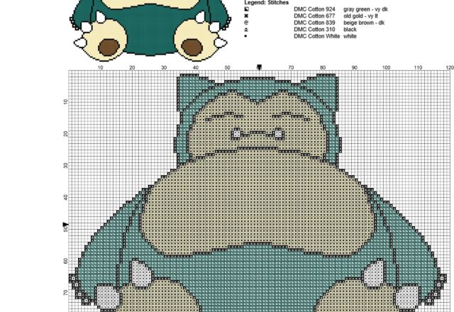 snorlax_pokemon_first_generation_143_free_cross_stitch_pattern_119_x_96_stitches_5_colors_dmc