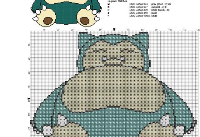 snorlax_pokemon_first_generation_143_free_cross_stitch_pattern_119_x_96_stitches_5_colors_dmc