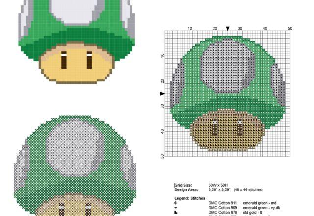 super_mario_1_up_mushroom_green_mushroom_free_cross_stitch_pattern