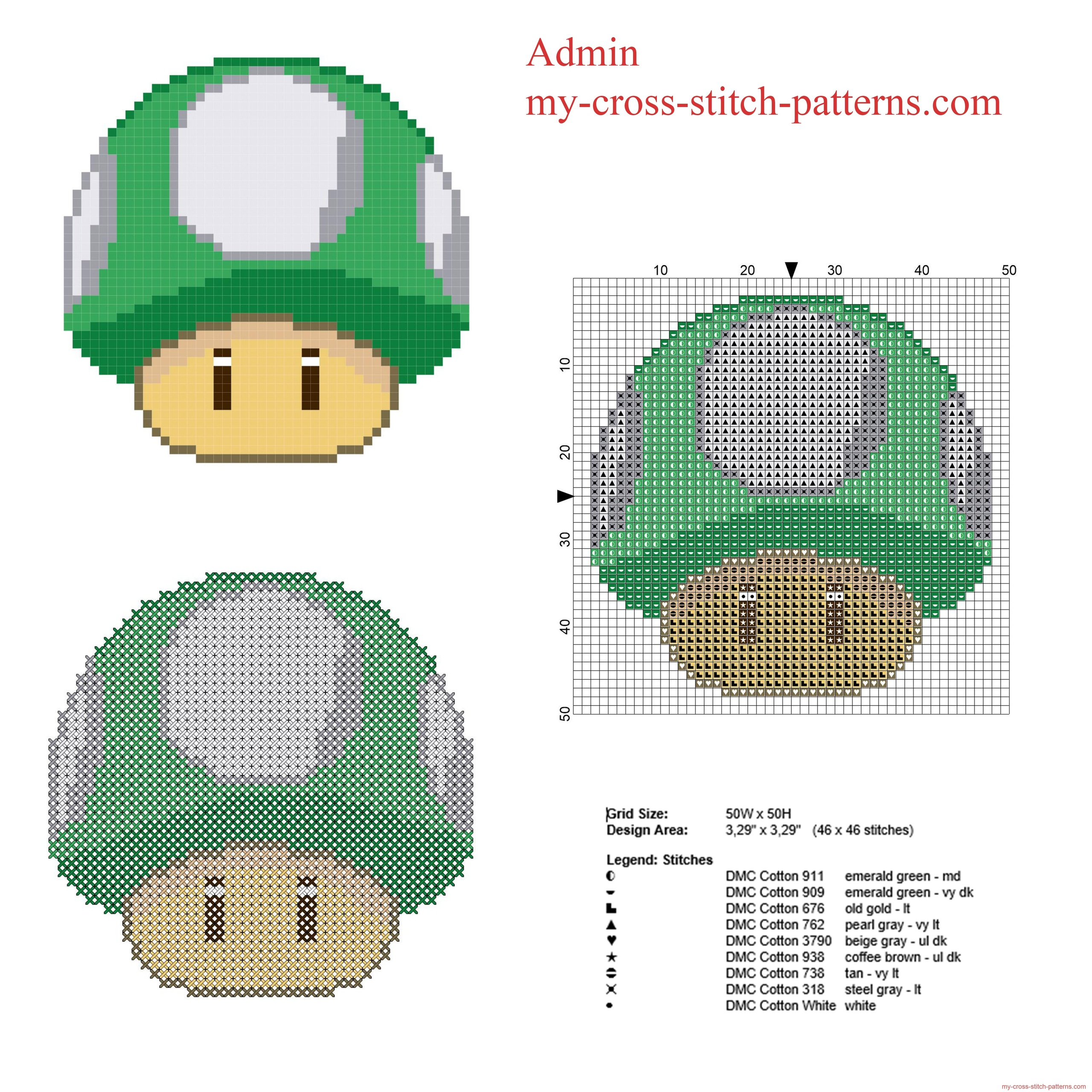 super_mario_1_up_mushroom_green_mushroom_free_cross_stitch_pattern