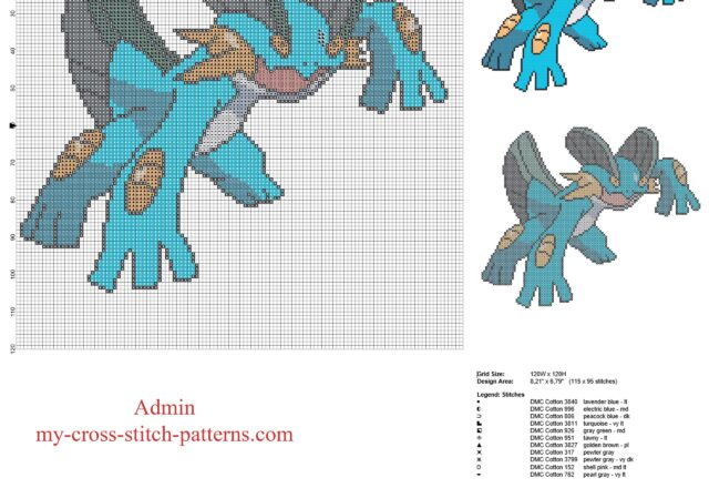 swampert_pokemon_third_generation_pokedex_number_260_free_cross_stitch_pattern