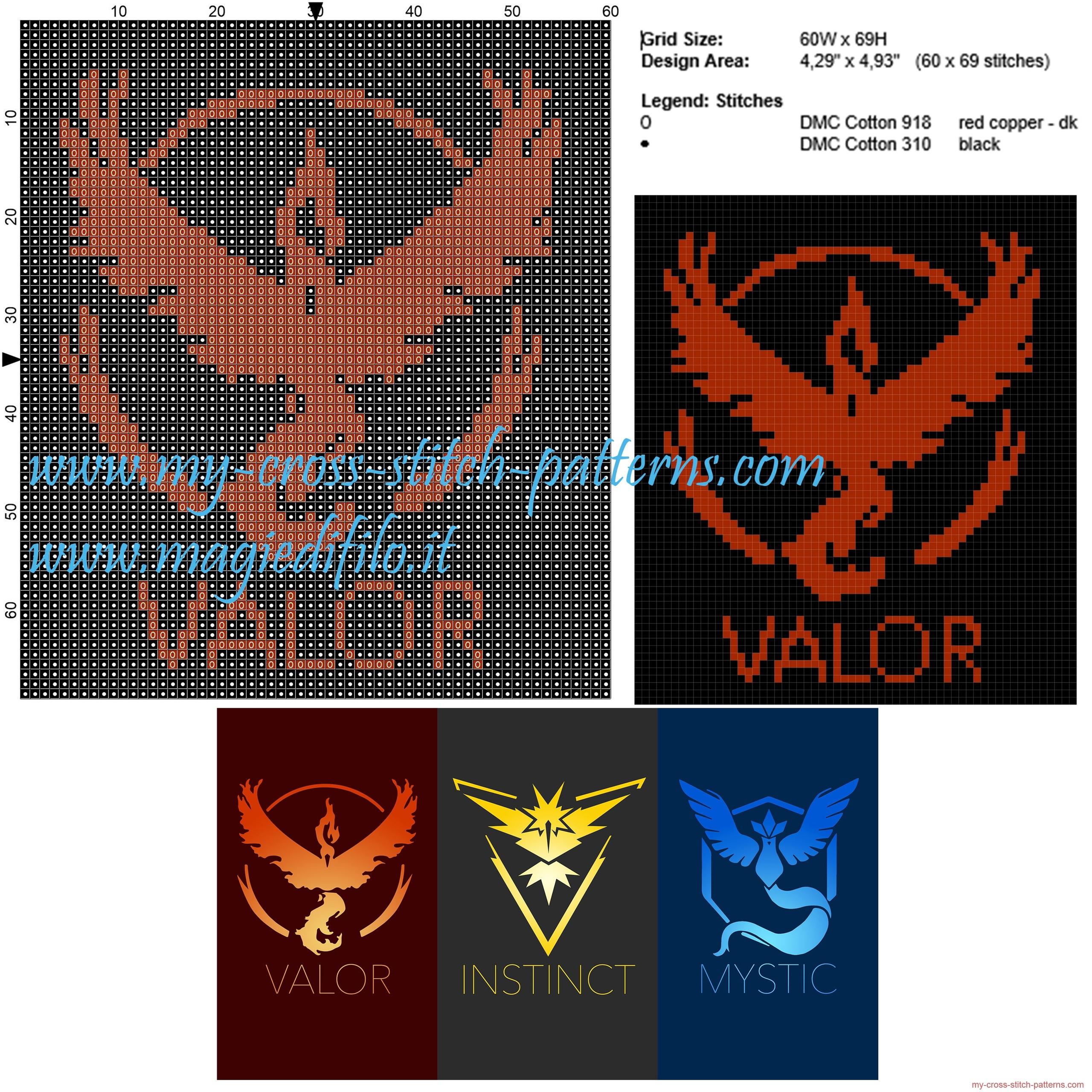 team_valor_pokemon_go_cross_stitch_pattern_