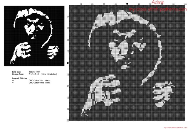 the_boxer_manny_pacquiao_free_monochrome_cross_stitch_pattern